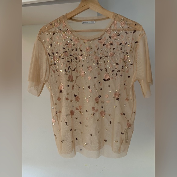 Zara Light Pink Embroidered Short Sleeves Mesh